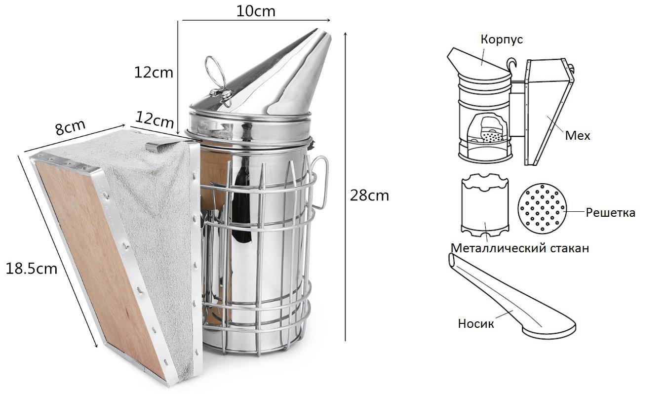 Конструкция и размеры дымаря пчеловода